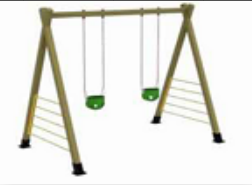 Children swing with two seats wooden frame swing VS-190325-4